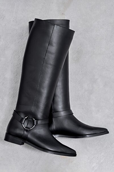 Elle Shoes ESTELITA Hakiki Deri Siyah Kadın Çizme