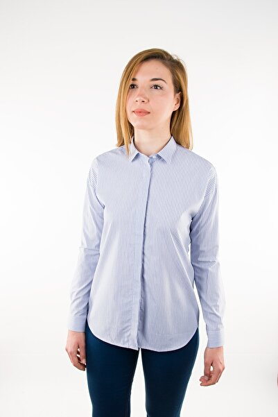 GIZA HOUSE Mavi Çizgili Casual Fit Gömlek