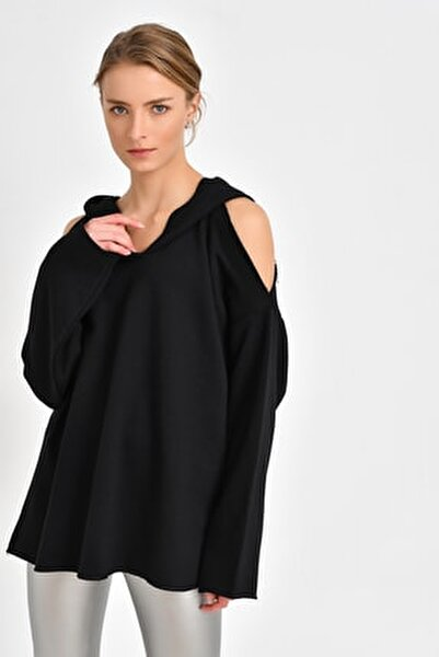 Omuz Detaylı Sweatshirt  Siyah BDE2523