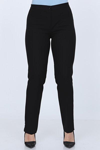 Gül Moda Kemerli Büyük Beden Likralı Pantolon Siyah