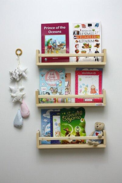 Ceebebek 3'Lü Montessori Kitaplık 50 Cm Duvar Rafı Bebek Çocuk Odası Ahşap Kitaplık
