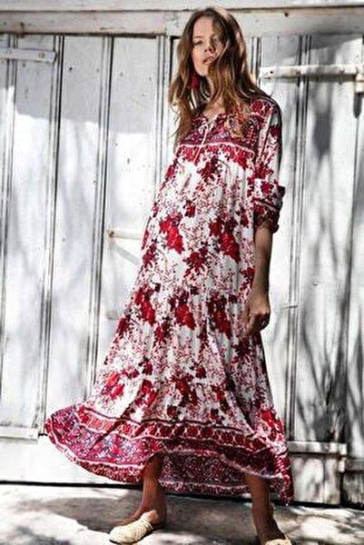 Kadın Volanlı Çiçekli Uzun Elbise Y20s110-1947