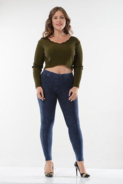 ENİMON Kadın Büyük Beden Kot Görünümlü Pantolon Tayt