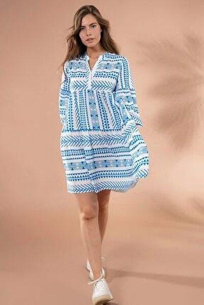 Kadın Etnik Desenli Hakim Yaka Mini Elbise Y20s110-1975
