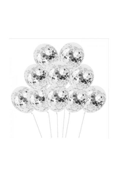 BalonEvi Gümüş Konfetili Şeffaf Balon Seti - 10 Adet