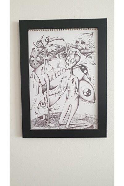 ART MODE Karmaşa / Illüstrasyon Karakalem Karışık Teknik Sürrealist Resim (25x35 Cm)