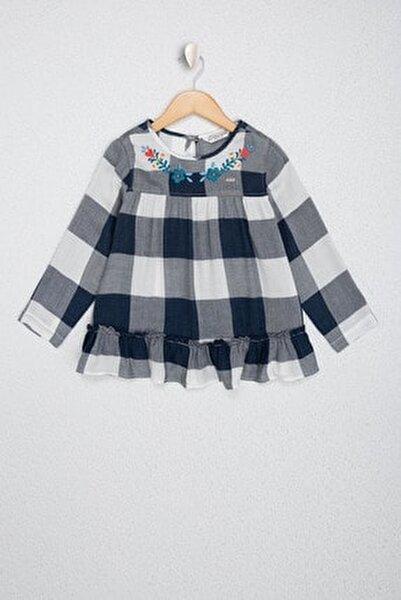Lacivert Kız Çocuk Dokuma Gömlek