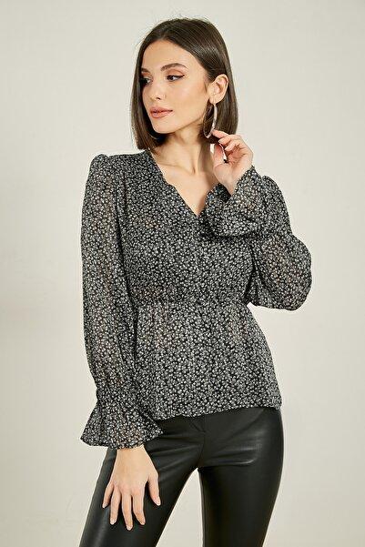 Sateen Düğme Detay Desenli Bluz - Siyah
