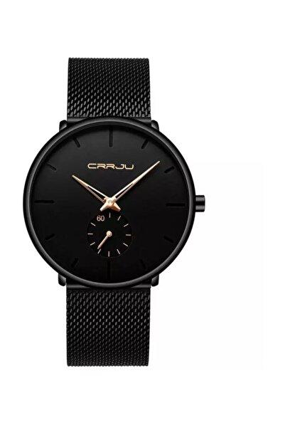 Crrju Crrju Siyah Hasır Erkek Kol Saati Sade Ve Şık Tasarım Saat
