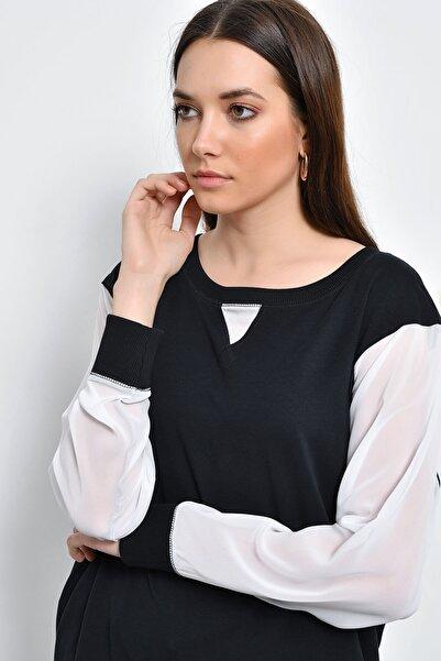 Hanna's by Hanna Darsa Kadın Siyah-Beyaz Kolları Şifon Sweatshirt HN2177