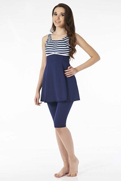 Estiva Denizci Lacivert Askılı Taytlı Elbise Mayo