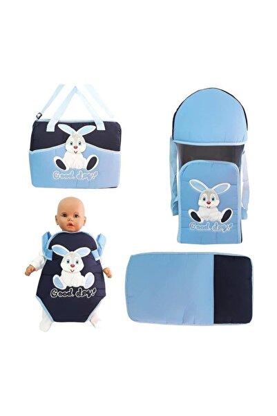 bebegen Tavşan Mavi 4 Lü Bebek Taşıma Kanguru Portbebe Çanta Alt Açma Seti