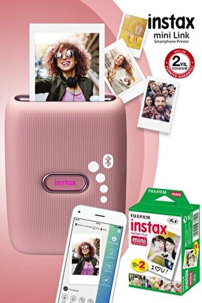 Instax mini Link Pembe Akıllı Telefon Yazıcısı ve 20'li mini Film