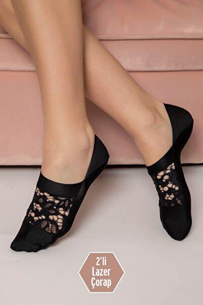 Siyah İnci Kadın Siyah 2'Li Dikişsiz Lazer Kesim Çorap