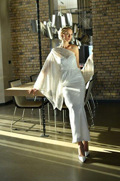 Barrus Kadın  Beyaz Tek Kol Payet Elbise Barrus609