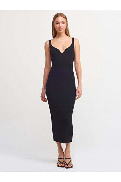 Dilvin Kadın Siyah Askılı Kalem Triko Elbise Yt1032