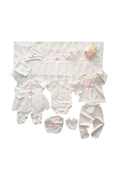 Eda Baby Kız Bebek Dantelli 10 Parça Hastane Çıkışı Seti 1180