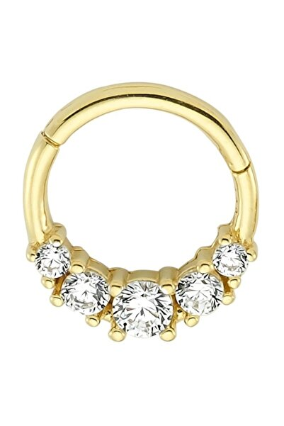 Penna Jewels Tragus Halka Altın Piercing – Beş Süzme Taşlı