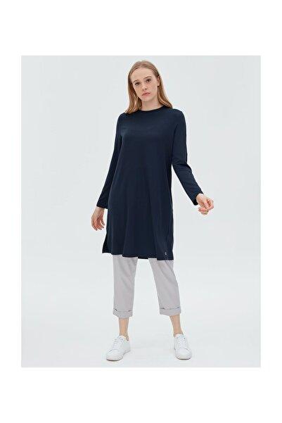 Kayra Basic Uzun Penye Bluz Lacivert Sz 10506