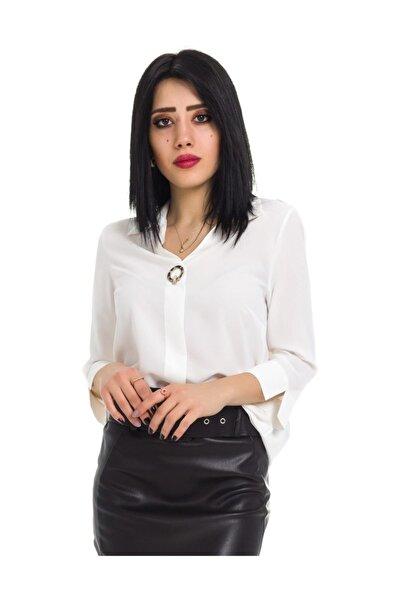 AYHAN Kadın V Yaka Bluz