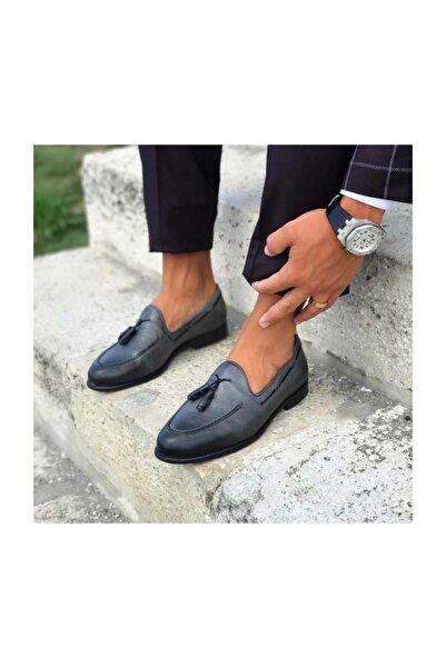 TETRİ Gri Deri Klasik Ayakkabı