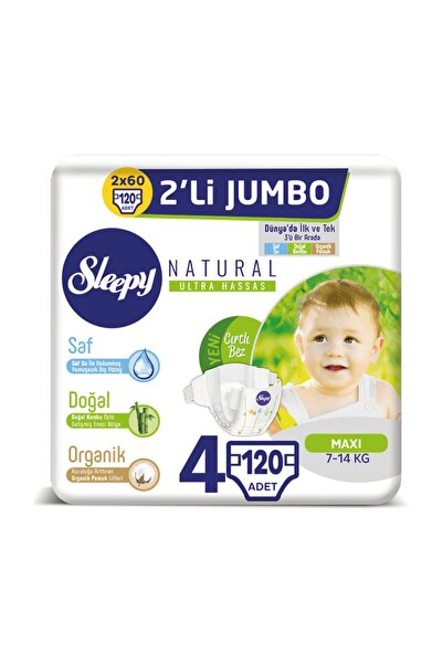 Sleepy Natural Bebek Bezi 4 Beden Maxi 2x2'li Jumbo 120 Adet