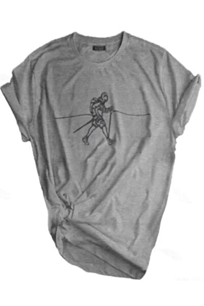GENIUS Unisex Gri Store Outdoor Baskılı T-shirt