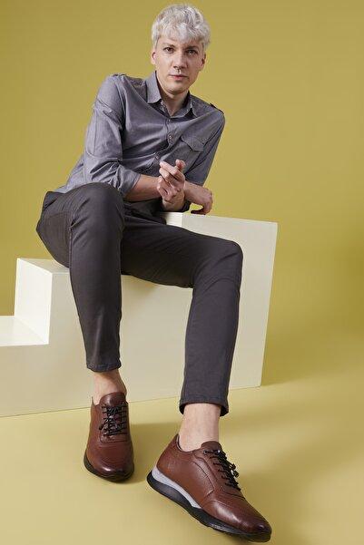 Ziya , Erkek Hakiki Deri Sneaker 111415 348024 Taba