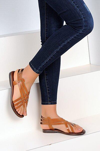 Pembe Potin Hakiki Deri Taba Kadın Sandalet A2105-19