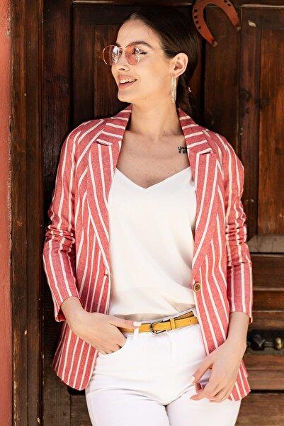 armonika Kadın Kırmızı Keten Tek Düğmeli Kalın Çizgili Ceket ARM-19Y001079