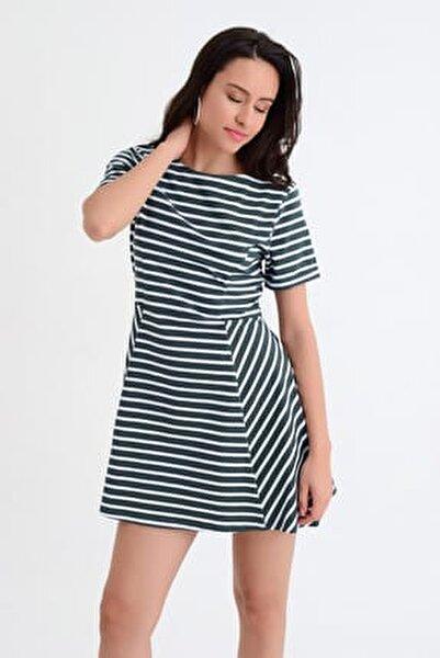Kadın Haki Haki-Beyaz Çizgili Kloş Mini Elbise HN1835