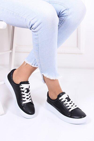 Deripabuc Hakiki Deri Siyah Kadın Deri Sneaker Dp17-0602