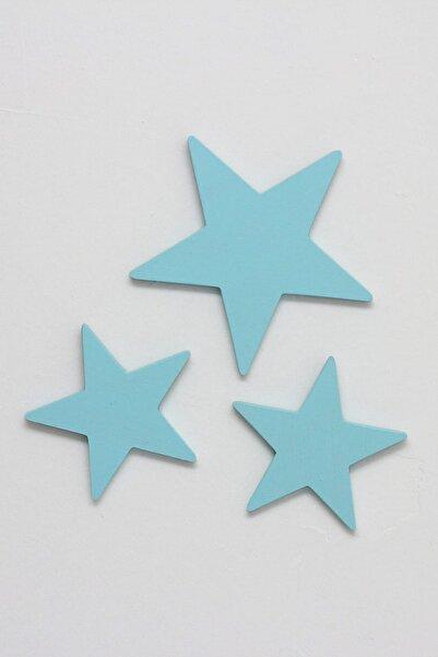 Ceebebek Ahşap Bebek Çocuk Odası Duvar Dekorasyon Montessori Mavi Yıldız 3'lü Set CEEM3YLDZ9999