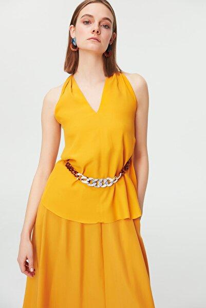 İpekyol Kadın Sarı  Ekay Zincir Aksesuarlı Bluz IS1190006212009