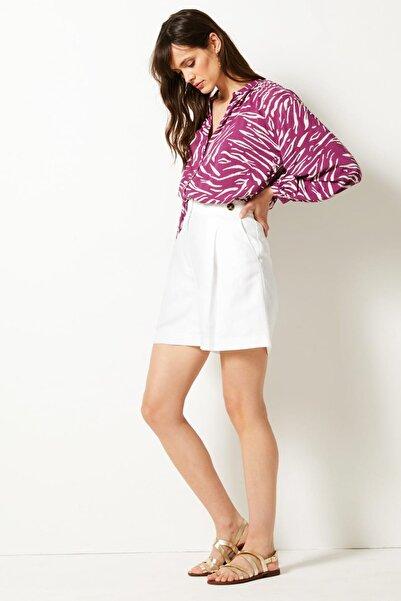 Marks & Spencer Kadın Beyaz Keten Karışımlı Şort T59006812