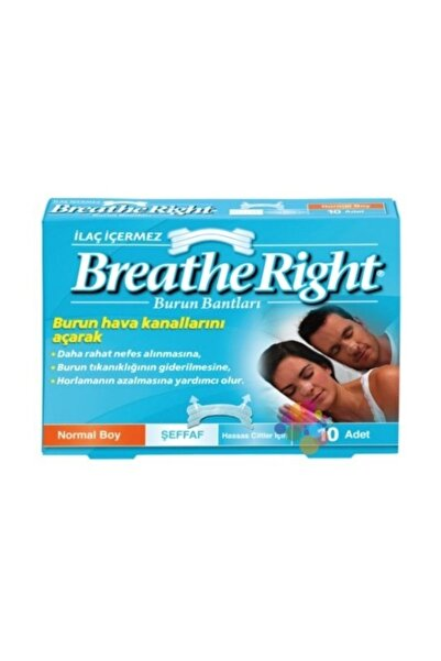 Breathe Right Right Burun Bandı Şeffaf Normal Boy 10'Lu