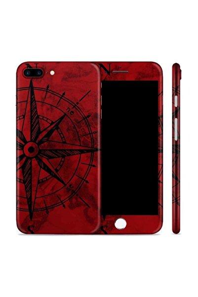 Renkli Garaj iPhone 8 Plus Red Compass Telefon Kaplama