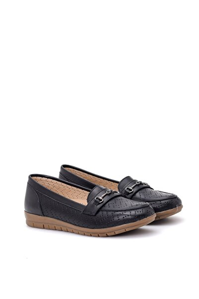 Derimod Hakiki Deri Siyah Kadın Loafer Ayakkabı