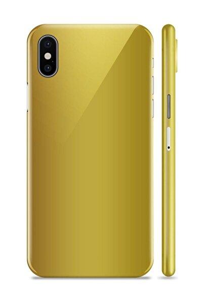 Renkli Garaj iPhone X Mat Krom Gold ( M4 Sarısı) Telefon Kaplama