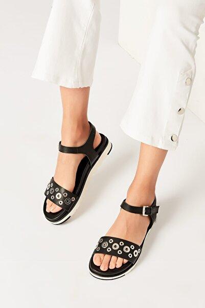 İnci Hakiki Deri Siyah Kadın Sandalet 120130002083