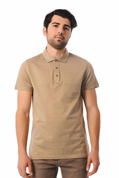 Hatemoğlu Desenli Polo Yaka Bej T-shirt 35362018C002