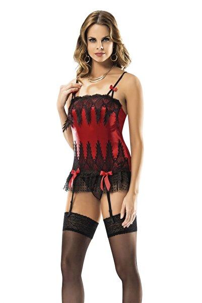Siyah İnci Kadın Kırmızı Jartiyerli Çoraplı Fantezi Takım