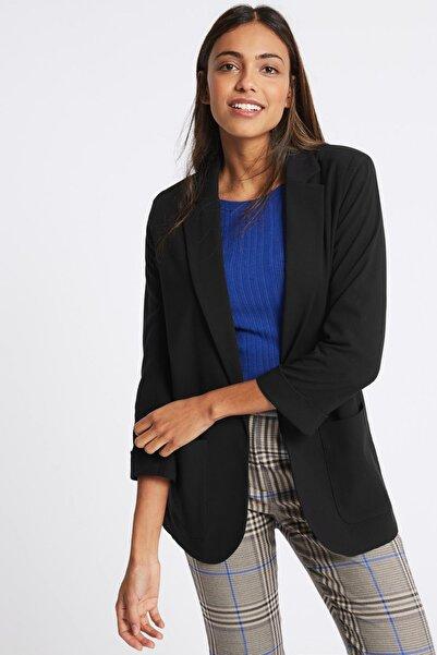 Marks & Spencer Kadın Siyah Cepli Blazer Ceket T59000552J
