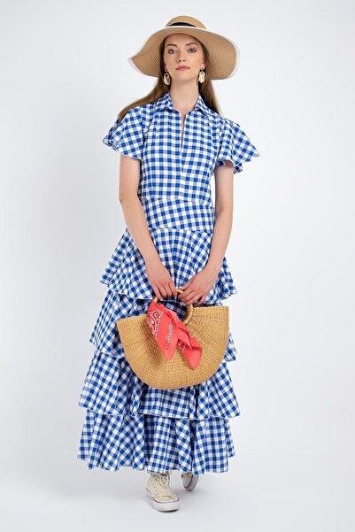 Ayşe Brav Kareli Fırfırlı Elbise