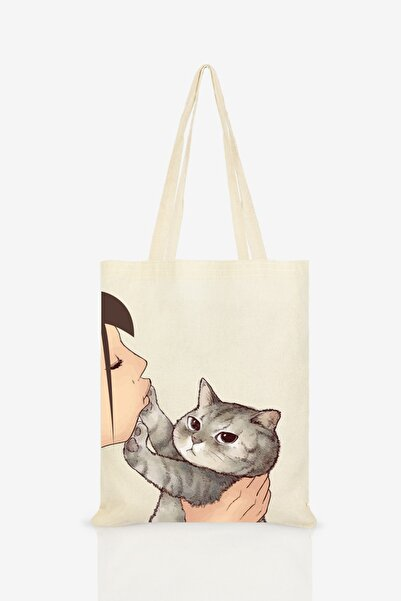 Çınar Bez Çanta Kadın  Ekru Kedi Öpen Kız Baskılı Ham Bez Çanta C0108