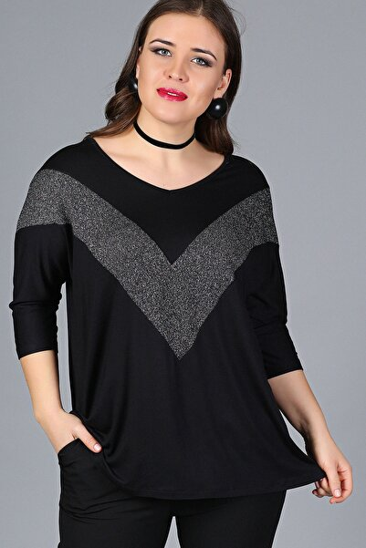 Moda Cazibe Kadın Siyah Göğüs V Sim Bluz M9310