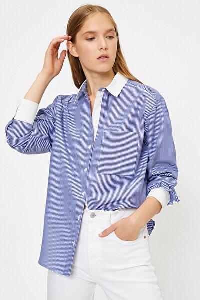 Koton Kadın Mavi Çizgili Gömlek 0KAK68221PW