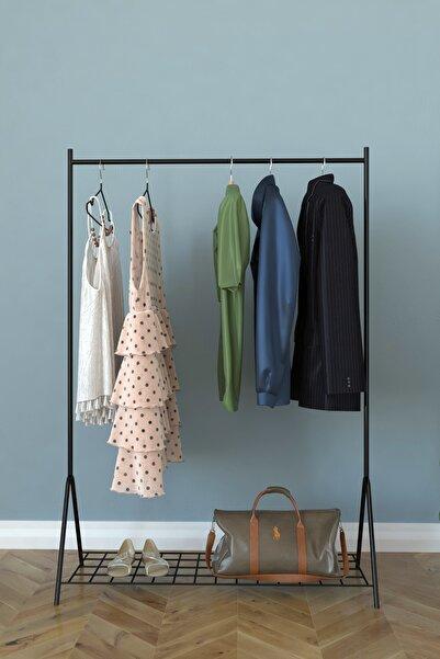 Remaks Loft 1 Raflı Metal Portmanto Ayaklı Elbise Askısı Ve Konfeksiyon Askılık - Siyah