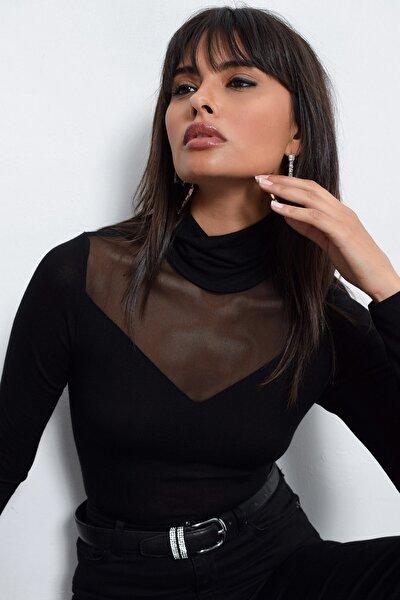 Cool & Sexy Kadın Siyah Üstü Tül Bluz TZ20751