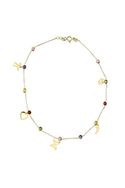 Glorria Kadın Altın Renkli Taşlı Şans Halhal CM0611